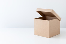 Half-open Cardboard Box, Gift Box, Isolated On White.
