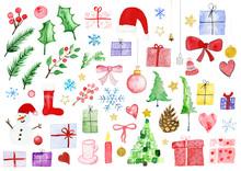Weihnachten Div Motive In Aquarell Handgemalt