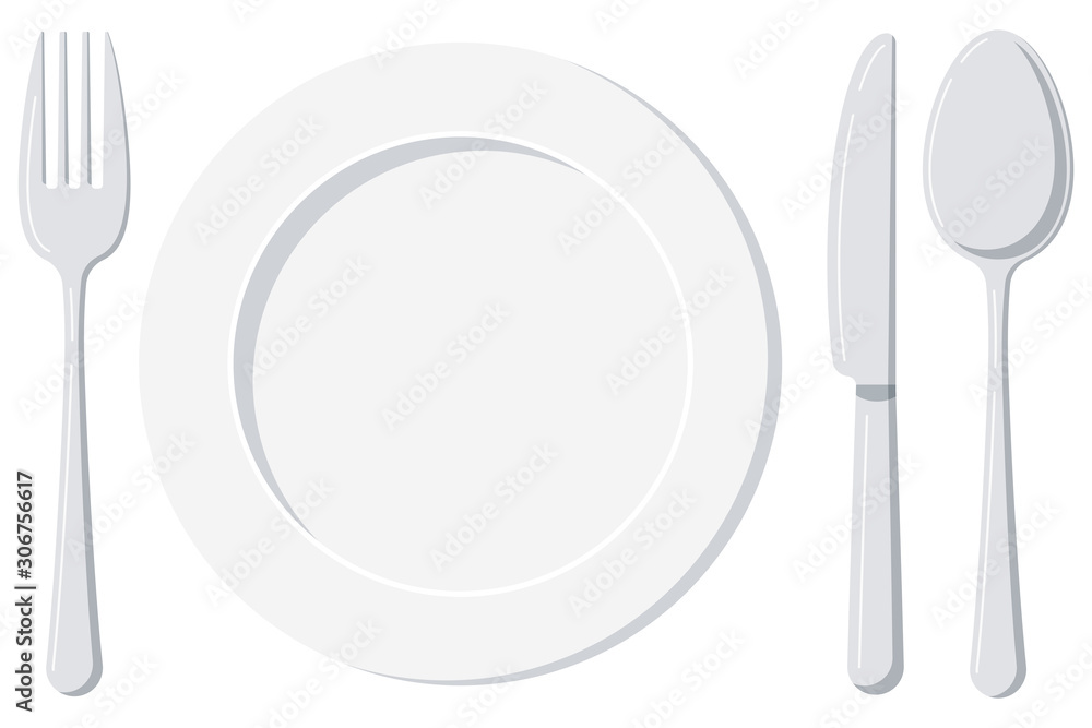 Fotografie, Obraz Empty white plate with spoon, knife and fork isolated on a white background