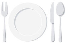 Empty White Plate With Spoon, ...