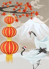 Fototapeta Orientalny Chinese lanterns, cranes and snow mountain. Winter asian landscape