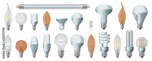 Obraz Halogen bulb realistic vector set icon. Illustration of isolated realistic icon halogen of light lamp. Isolated set electric and fluorescent bulb. - fototapety do salonu