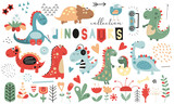 Fototapeta Dino - Cute dinosaurs and floral collection - leaves, flowers, plants. Hand drawn. Doodle cartoon dino characters for nursery posters, cards, kids t-shirts. Vector illustration. Isolated on white background.