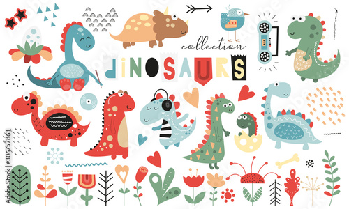 obraz lub plakat Cute dinosaurs and floral collection - leaves, flowers, plants. Hand drawn. Doodle cartoon dino characters for nursery posters, cards, kids t-shirts. Vector illustration. Isolated on white background.