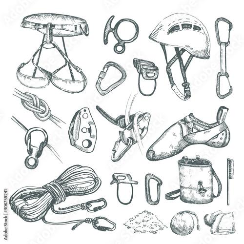 Photo Hand drawn climbing equipment set.