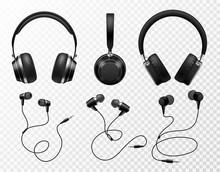 Music Earphones. Black Headpho...