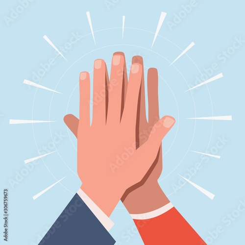 High five hands. Two hands giving high five informal greeting with friendly partners, great work achievement. Team success vector concept Fotobehang