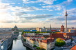 Leinwanddruck Bild Berlin cityscape with Berlin cathedral and Television tower, Germany