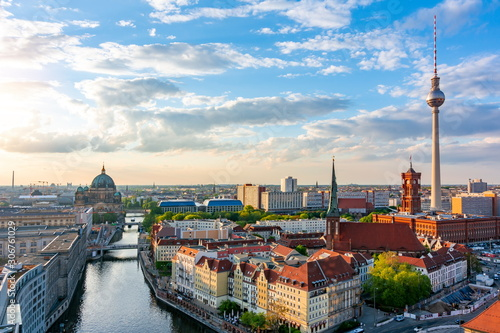 Berlin cityscape with Berlin cathedral and Television tower, Germany Canvas Print