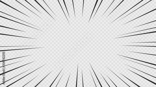 Background of comic book action lines. Speed lines Manga frame isolated on transparent background. Vector graphic design - 306762205