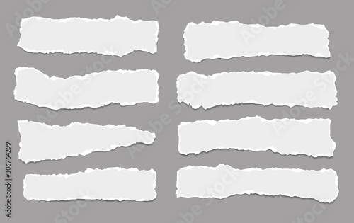 Fototapeta Pieces of torn horizontal white paper with soft shadow are on dark grey background for text. Vector illustration obraz