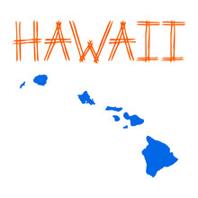 Isolated Colorful Hawaii Map -...