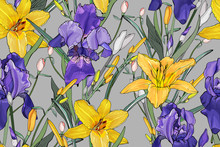 Floral Seamless Pattern With Purple Irises, Yellow Lilies, Green Leaves On Gray Background. Hand Drawn. For Your Design, Prints, Textile, Web Pages. Realistic Style. Vector Stock Illustration.