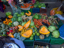 A Vegetable Stall At The Traditional Local Market In The Colonial Town Of Villa De Leyva, In The Central Boyacá Province, Part Of The Colombian Department Of Boyacá.