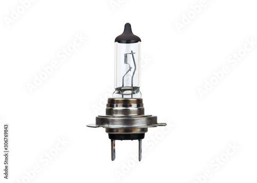 Obraz Automotive halogen headlight bulb isolated on white - fototapety do salonu