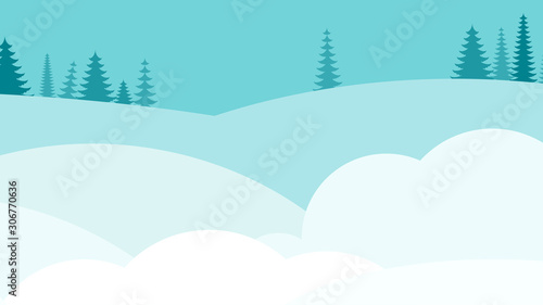 Foto auf AluDibond Turkis Winter snowy deserted landscape. Flat vector background