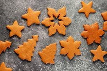 Collection Of Various Gingerbread Cookies With Flour