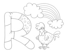 English Alphabet. ABC. Coloring Page. Illustration For Children. Cute And Funny Cartoon Characters