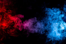 Abstract  Red Purple And Blue Smoke On Black Background