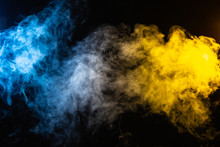 Abstract Blue And Yellow Smoke...