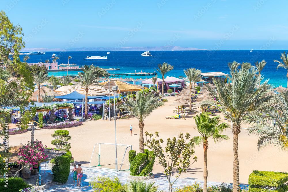 Fototapeta Hurghada, Egypt - April 17, 2019: beach football field on a nice sunny day at the Red Sea in Hurghada, Egypt