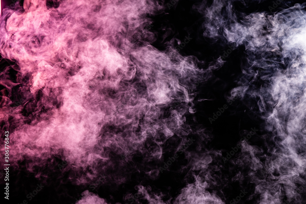 abstract pink and white smoke overlay on black background