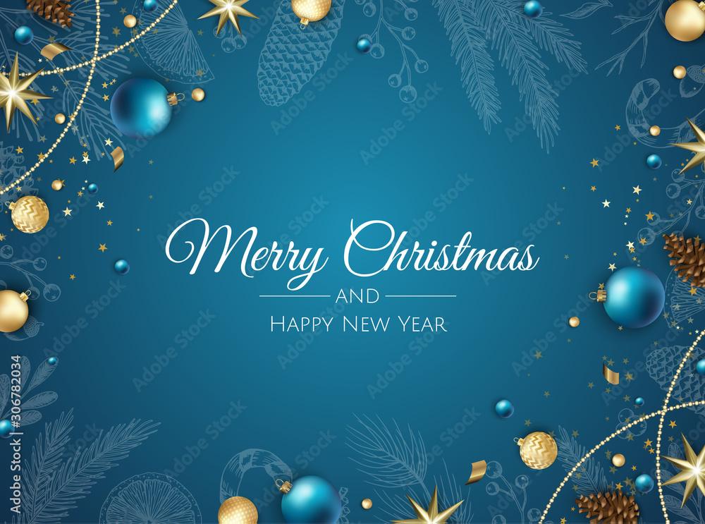 Merry Christmas background with christmas element. Vector illustration <span>plik: #306782034 | autor: Anastasiya </span>