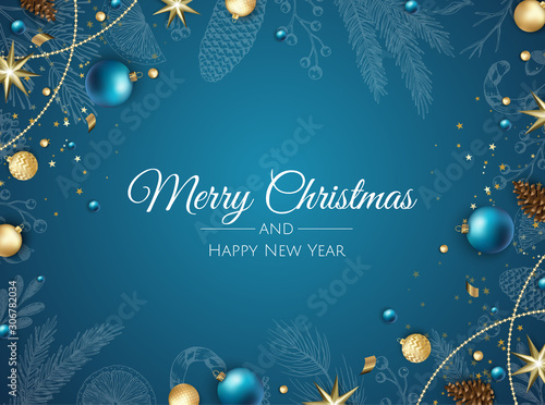Fotomural  Merry Christmas background with christmas element
