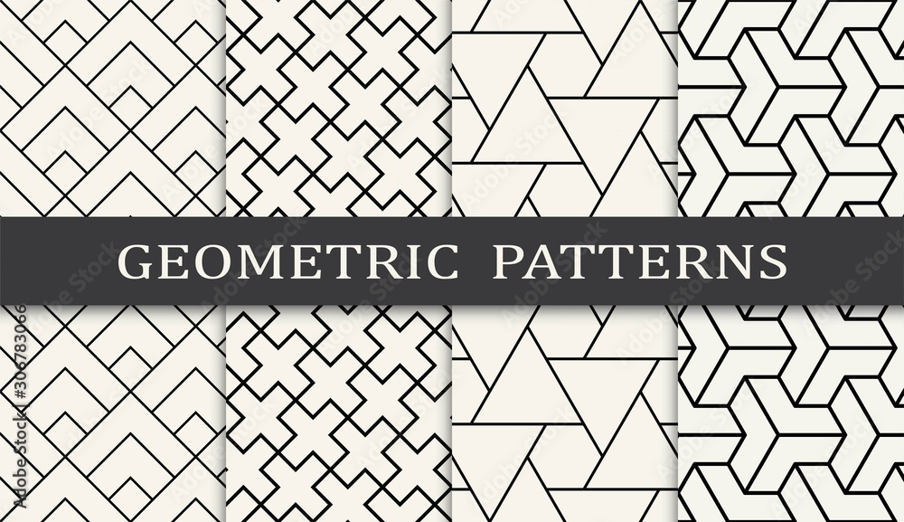 Fototapeta black and white geometric grid pattern set