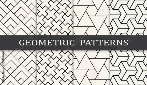 black and white geometric grid pattern set Fototapete