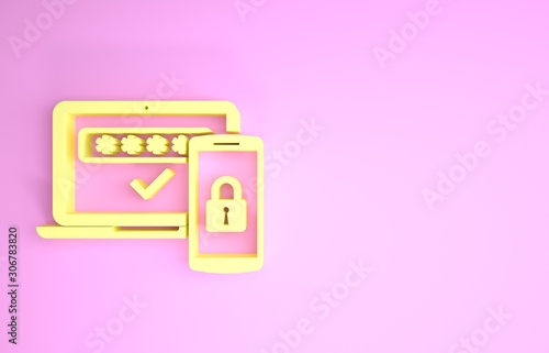 Photo Yellow Multi factor, two steps authentication icon isolated on pink background