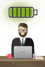 Active Business Man Work Laptop Computer Full Battery Flat Vector IIllustration