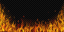 Translucent Fire Flames And Sparks On Transparent Background. For Used On Dark Illustrations. Transparency Only In Vector Format