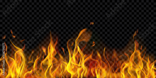 Obraz Translucent fire flames and sparks with horizontal repetition on transparent background. For used on dark illustrations. Transparency only in vector format - fototapety do salonu