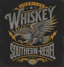Hand Drawn Eagle Whiskey Label...