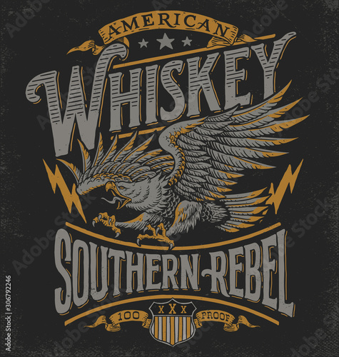 Photo Hand drawn Eagle Whiskey label inspired T-shirt graphic