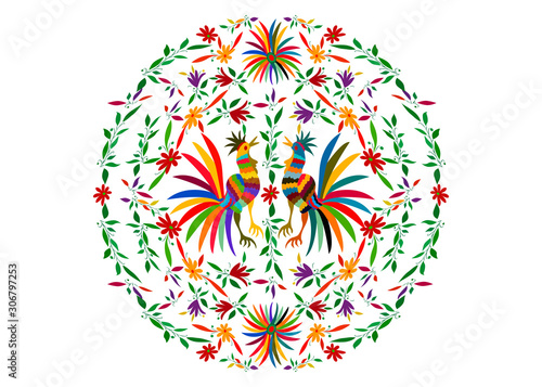 Fotografie, Obraz Otomi style, Ethnic Mexican tapestry with round embroidery floral and roosters jungle animals hand-made