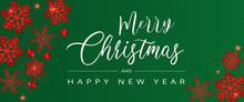 Carte Ou Bannière De Noël Et Joyeuse Année Sur Fond Vert