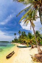Dugout Canoes On Beautiful Sand Beach On San Blas Islands, Panama