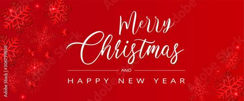 Carte ou bannière de noël et joyeuse année sur fond rouge Canvas Print