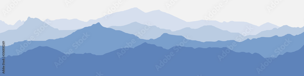 Fototapeta Vector illustration of mountains, ridge in the morning haze, panoramic view - obraz na płótnie