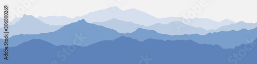 Fotografie, Tablou Vector illustration of mountains, ridge in the morning haze, panoramic view