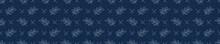 Leaf Fern Motif Embroidery Banner Background. Japanese Sashiko Border Needlework. Seamless Linen Pattern. Hand Running Stitch Indigo Dark Blue. . Japan Quilt Texture Ribbon Trim. Vector EPS 10