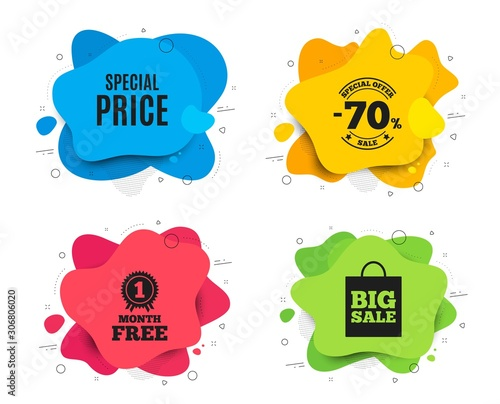 Special price symbol. Liquid shape, various colors. Sale sign. Advertising Discounts symbol. Geometric vector banner. Special price text. Gradient shape badge. Vector
