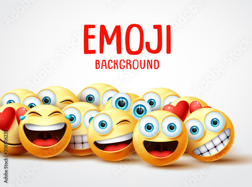 Emojis vector background funny concept. Emoji background text with group of funny and happy emoticon with facial expression in white empty space background. Vector illustration.