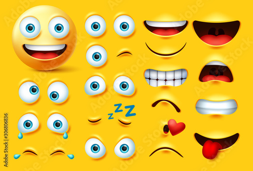 Smileys emoticon character creation vector set Canvas