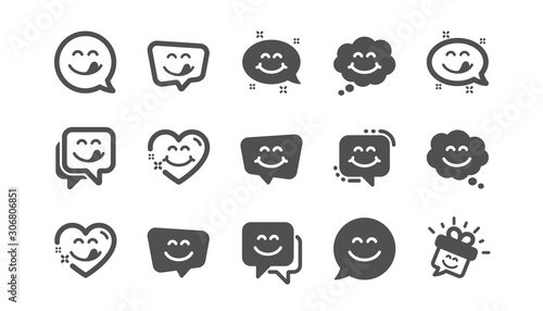 Yummy smile icons. Emoticon speech bubble, social media message, smile with tongue. Tasty food eating emoji face icons. Delicious yummy, happy emoticon. Classic set. Quality set. Vector