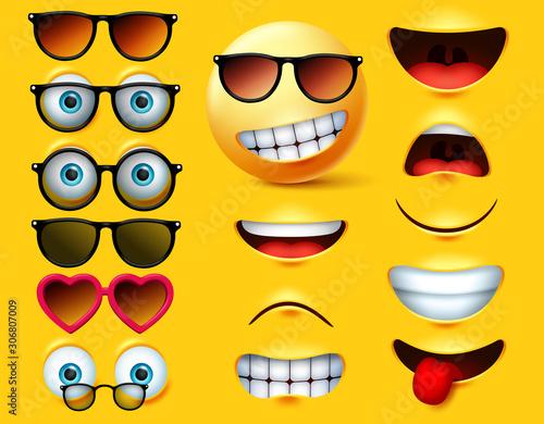 Fototapeta Smileys emoticons with sunglasses vector creation kit