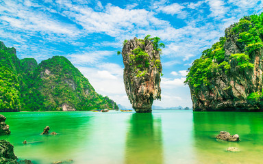Panel Szklany Góry Stunning amazed nature scenic landscape James Bond island Phang-Nga bay, Famous fantastic landmark travel Phuket Thailand Tourism beautiful destination popular place Asia, Summer holiday vacation trip