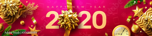 Fototapeta 2020 Happy New Year Promotion Poster or banner with golden gift box and christmas decoration elements.Change or open to new year 2020 concept.Promotion and shopping template for New Year.Vector EPS10 obraz